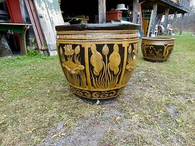 Large Terracotta Glazed  Planter With Floral   Decorations 11