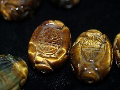 Vintage Carved Chinese Tigers Tiger Eye Bead Shou Design 25mm 18mm Flat Oval