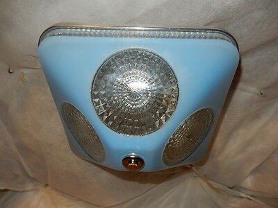 Art Deco BLUE Square Glass Light Fixture Ceiling Chandelier 1940s-----Pr. Avail. 4