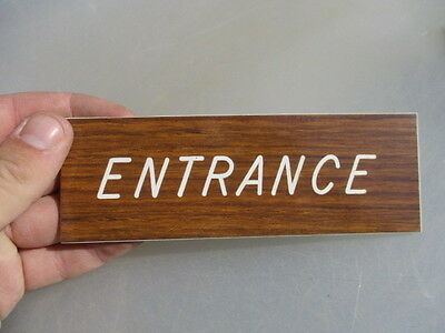 "Vinyl ""Entrance"" Plaque Sign Architectural Salvage Laminate Vintage - Retro Old 4"