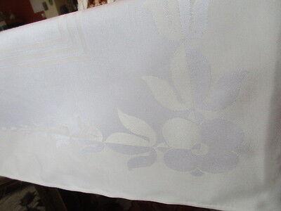 schöne alte Halbleinen Damast Tischdecke Tafeltuch pastellgelb weiss 4