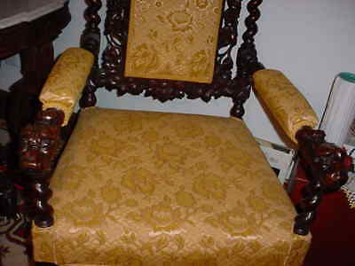 19Th Cenntury Jacobean Style Or Hunt Carved And Upholstered Chair 6