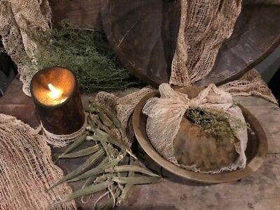 Primitive Wreath Ornaments Blackened Wax Early Homestead Bowl Filler Peg Hanger 11
