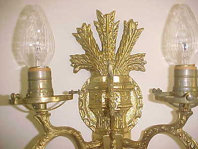 "Wall Sconces Antique 4 Light Brass Rewired 19"" High 19"" Wide (Lot Of 2) 8"