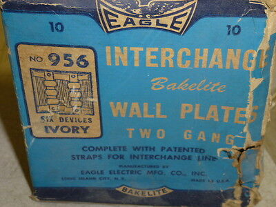 Nos! Eagle Interchange 2-Gang Ivory Ribbed Bakelite Wall Plate, Horizontal, 956