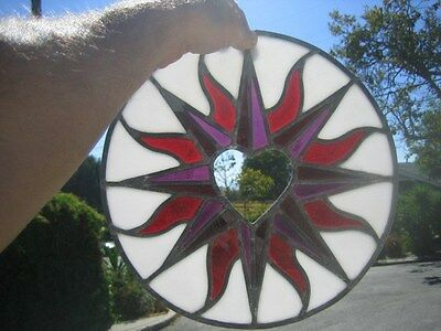"leaded stained glass round window hanging floral patern & heart 12"" round 3"