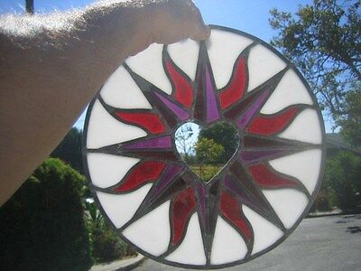 """leaded stained glass round window hanging floral patern & heart 12"""" round 3"""