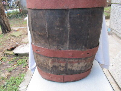 VERY RARE ANTIQUE OLD HAND CARVED WOODEN CANTEEN FLASK KEG BIG PERFECT shape