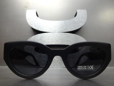 Classy Elegant RETRO Cat Eye Style SUN GLASSES Thick Matte Black Frame Dark Lens