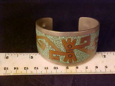 Taxco Mexico Cuff Bracelet  native motif Alpaca silver with brass/stones inlays 6