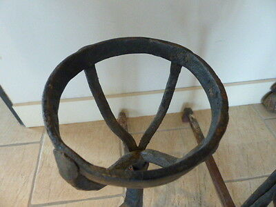 PAIR Rare 1850's Handmade Antique Wrought Iron Fireplace French Andirons Landier 6