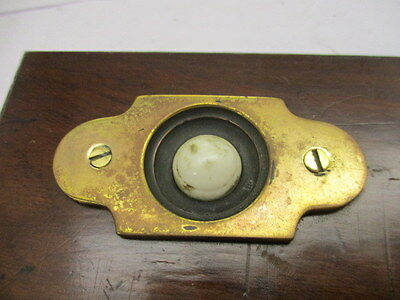 Vintage Brass Door Bell Porcelain with Wooden Surround Architectural Antique Old 2