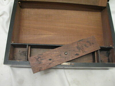 Antique Wooden Lap/Field Desk Writing Case Wood Box Tool Tole Painted 2