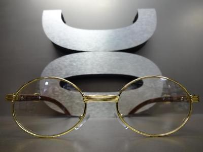 a4998c5abefe ... Mens CLASSY MODERN Clear Lens EYE GLASSES Oval Gold   Wood Wooden  Effect Frame 4