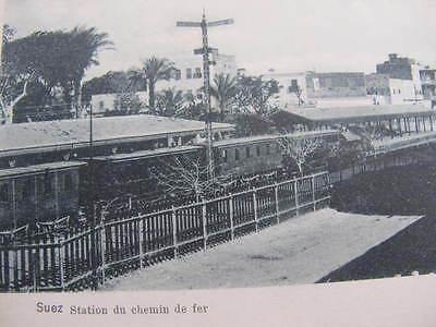 Suez Train Railway Station Postcard
