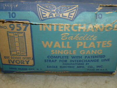 Nos (2) Eagle Interchange Single Gang Ivory Ribbed Bakelite Wall Plate, Vertical 3