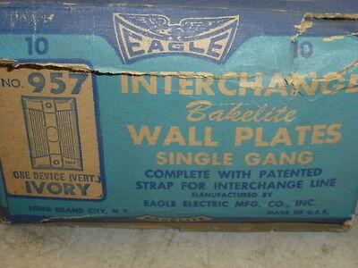 Nos (2) Eagle Interchange Single Gang Ivory Ribbed Bakelite Wall Plate, Vertical 3