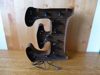 "LG BROWN VINTAGE STYLE LIGHT UP MARQUEE LETTER E, 24"" TALL novelty rustic sign"