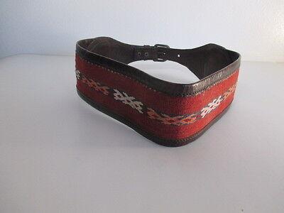 DANNIJO  Red Crochet Brown leather Morocco Waist Belt Sz 32.5 Long 10
