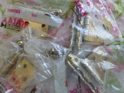Lot of Vintage Ajax Drawer Knob Pull Cabinet Hinges Filigree New NOS 6