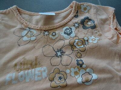 Ensemble jupe lin beige 2 ans + t-shirt saumon imprimé fleurs à paillette 3 ans 6