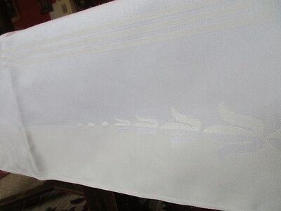 schöne alte Halbleinen Damast Tischdecke Tafeltuch pastellgelb weiss 5