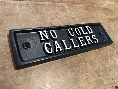 NO COLD CALLERS STOP SALES SALESMEN CAST SIGN BLACK ANTIQUE VINTAGE - DOOR-21-bl 3