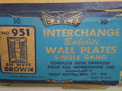 Nos! Eagle Interchange Single Gang Brown Ribbed Bakelite Wall Plate, Horizontal