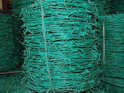 Stacheldraht grün ummantelt PVC 2,5mm 250m lange Rolle