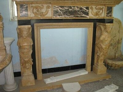 Monumental Hand Carved Figural Estate Fireplace Mantle - Hb32 2