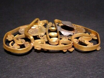 Beautiful Vintage Compact Bronze Gilt Buckle, Ancient Coins Replicas!!! 7