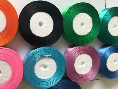 25 Metres Satin Ribbon 25mm 15mm 10mm 38mm 6mm Double Sided 12