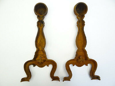 Antique Pair Old Metal Cast Iron Fireplace Andirons Parts Hearthware Rustic Art 9