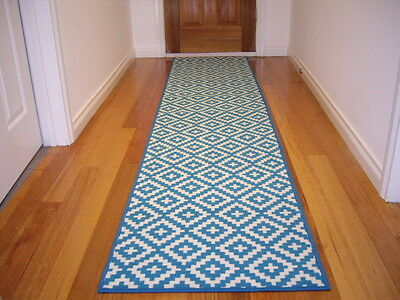Hallway Runner Hall Runner Rug Modern Blue 3 Metres Long FREE DELIVERY 79543