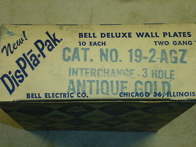 Nos! Bell Interchange 2-Gang Antique Gold Finish Wall Plate, 6-Hole, 19-2-Agz 3