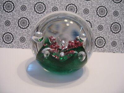 Dekorativer Glasbriefbeschwerer Paperweight Grün/rosa Luftblasen Unbeschädigt 6