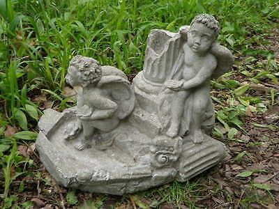 "Vtg Cement 11"" Tall 2 Angel Cherub Fountain Top Topper Garden Statue Concrete  A 2"