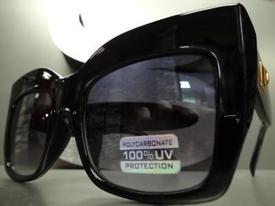 OVERSIZED VINTAGE 70s RETRO Style Clear Flat Lens EYE GLASSES Gold Fashion Frame