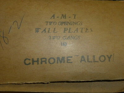 Nos! A.m.t. Interchange 2-Gang Chrome Finish Wall Plate, Horizontal, 4-Hole