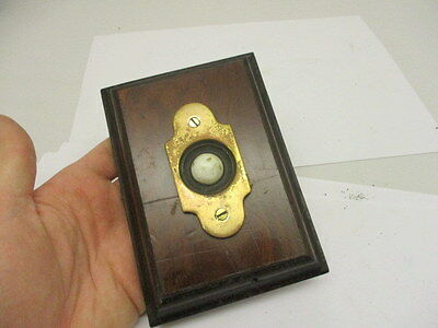 Vintage Brass Door Bell Porcelain with Wooden Surround Architectural Antique Old 6