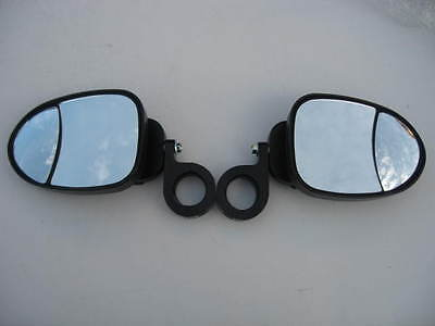 """Side View HD Sport Breakaway Mirrors Pair for Can Am Commander  2.01/"""" RND ROLL"""