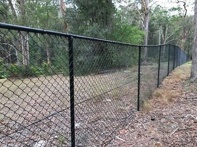 Black PVC Coated Chain Link Wire Mesh Fence Rail Post 38mm x 1.5mm x 3.0 M long