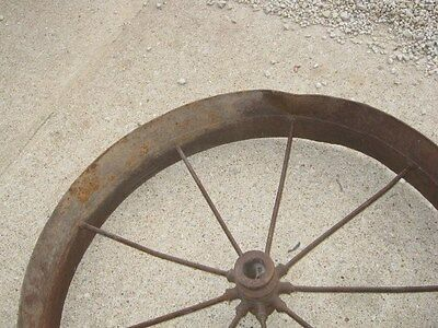 Vintage Rustic Rusty Iron Farm Implement Wheel Farm decor 6
