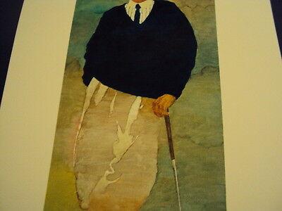 "Bart Forbes golf art print  "" The Golfer "" Vintage Male   SMALLER SIZE PRINT 4"