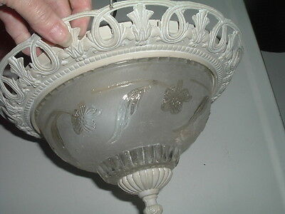 Antique Vintage Ceiling Lighting Fixture Frosted Floral Glass Enamel over Metal 6