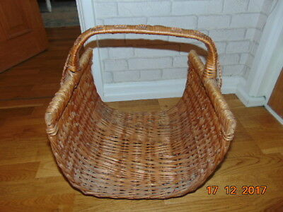 """Large Arts & Crafts Wicker Log Basket With Celtic Knot Weaved In 18"""" High X 16"""""""