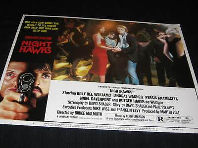 Nighthawks Rutger Hauer Disco Sylvester Stallone Original U.s. Lobby Card