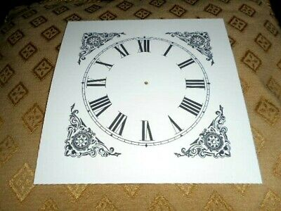 "Mantle/Shelf Paper (Card) Clock Dial - 5"" M/T-Corner Design - MATT WHITE - Parts 3"