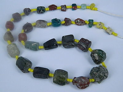 Ancient Fragment Glass Beads Strand Roman 200 BC No Reserve    #ML1119 3