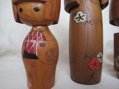 Cute kokeshi Japanese antique wooden doll 2 set 4